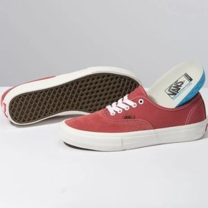 Van's Authentic Pro Skateboard Red Mens Shoes
